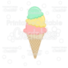 3 Scoop Ice Cream Cone SVG File & Clipart