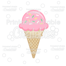 Ice Cream Cone with Sprinkles SVG File & Clipart