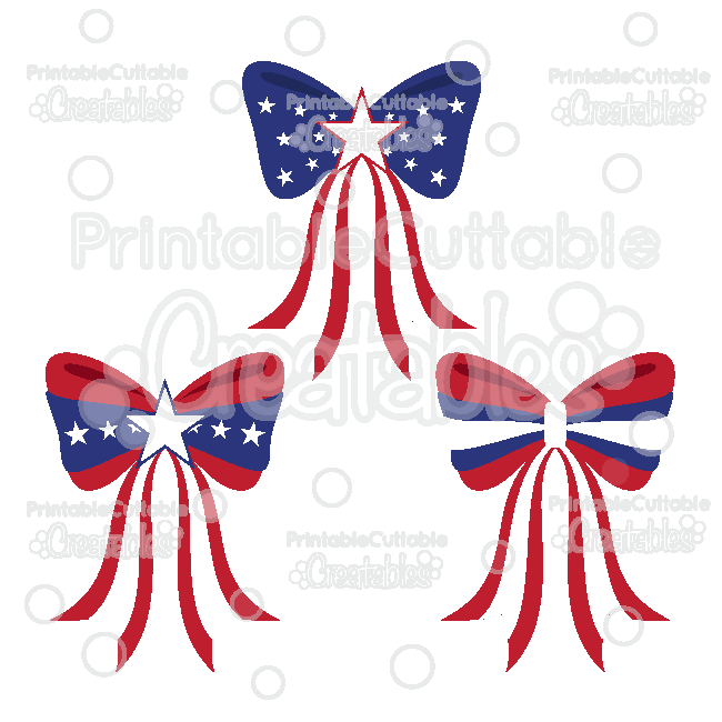 Patriotic Bows SVG Files & Clipart