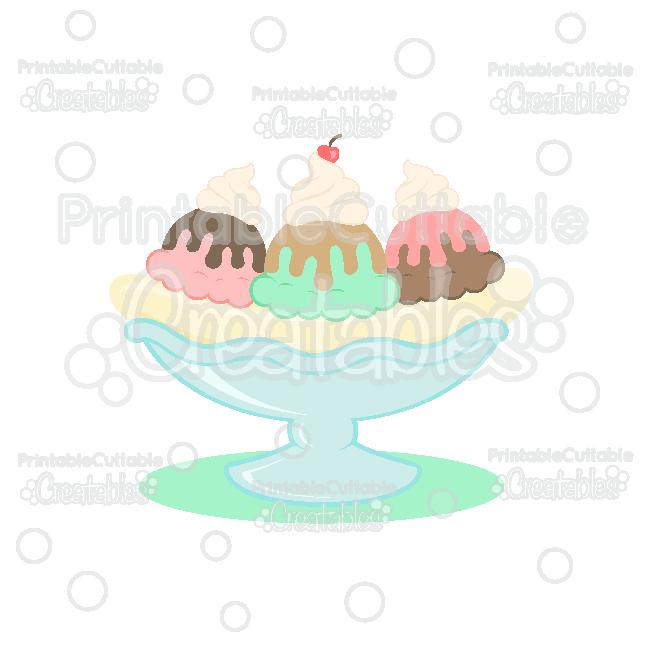 Ice Cream Sundae Banana Split SVG Cut File & Clipart