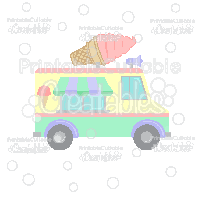 Ice Cream Truck SVG Cut File Clipart