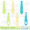Patterned Neckties Monogram Free SVG Files & Clipart Set