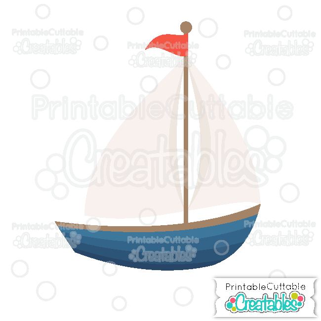E292 Sailboat SVG File Digital Die Cut preview2 et
