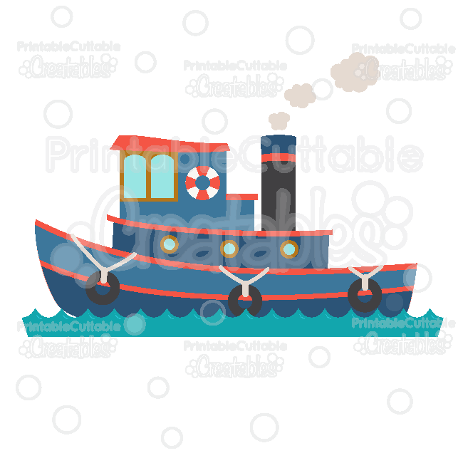 Tugboat Cuttable SVG File & Clipart