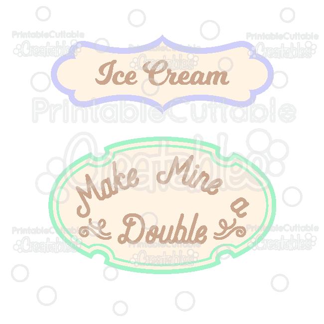 ES031 Ice Cream Scrapbooking Titles Digital Die Cut preview