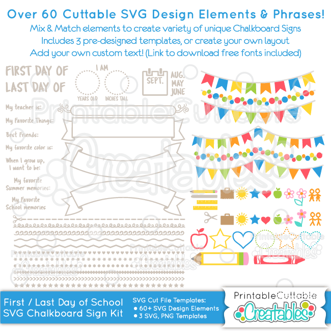 First Day of School Chalkboard Sign SVG Cut File Kit