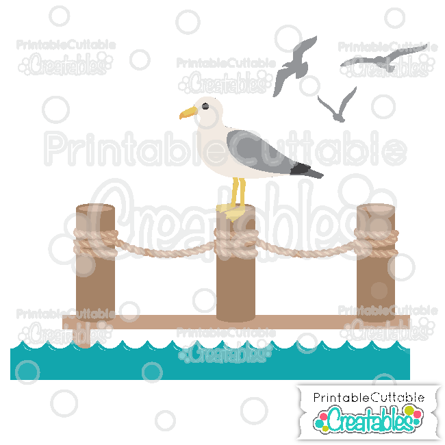 Seagull on Pier SVG Cutting File & Clipart