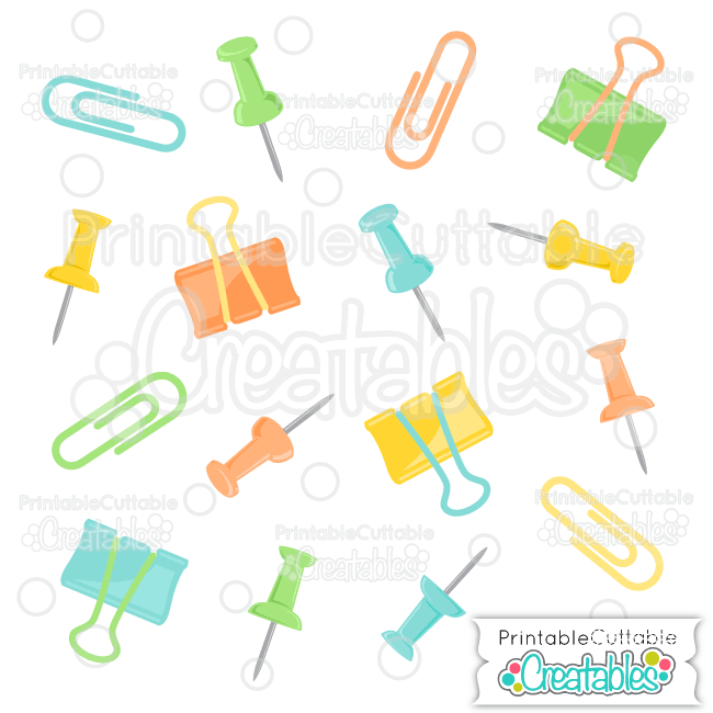 Paperclips & Pushpins SVG Cut Files & Clipart