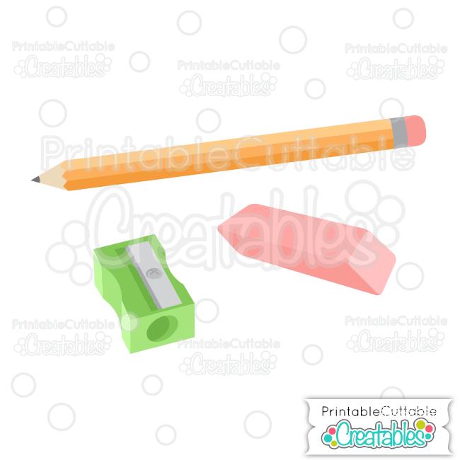 Pencil, Sharpener, & Eraser Free SVG Files