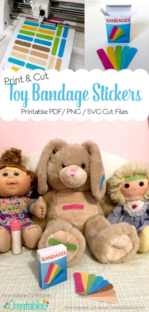 DIY Printable Toy Bandage Stickers SVG Cut Files on Silhouette Cricut