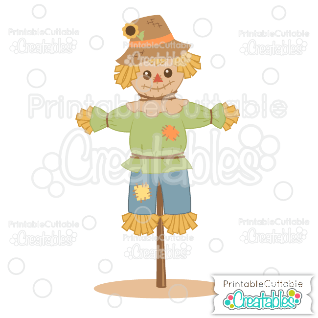 Cute Scarecrow SVG Cut File & Clipart