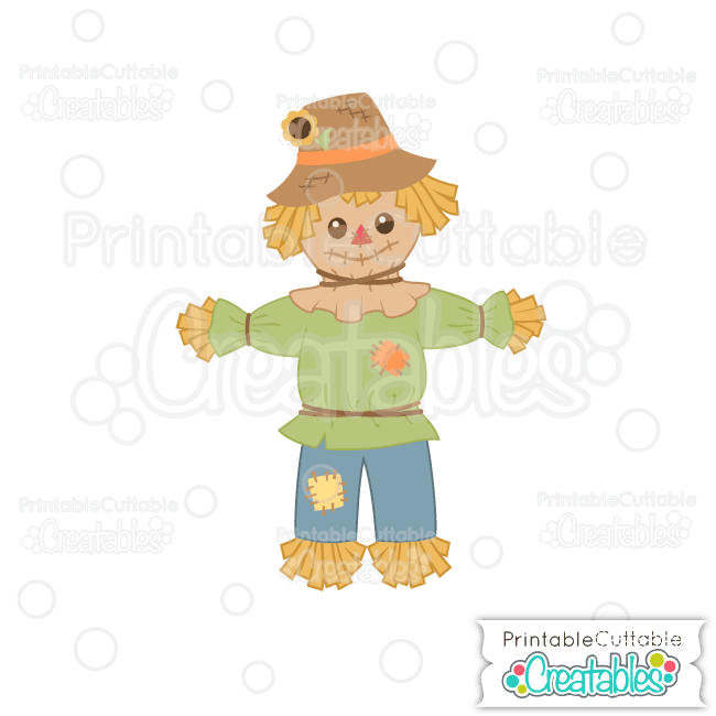 Cute Autumn Scarecrow SVG File