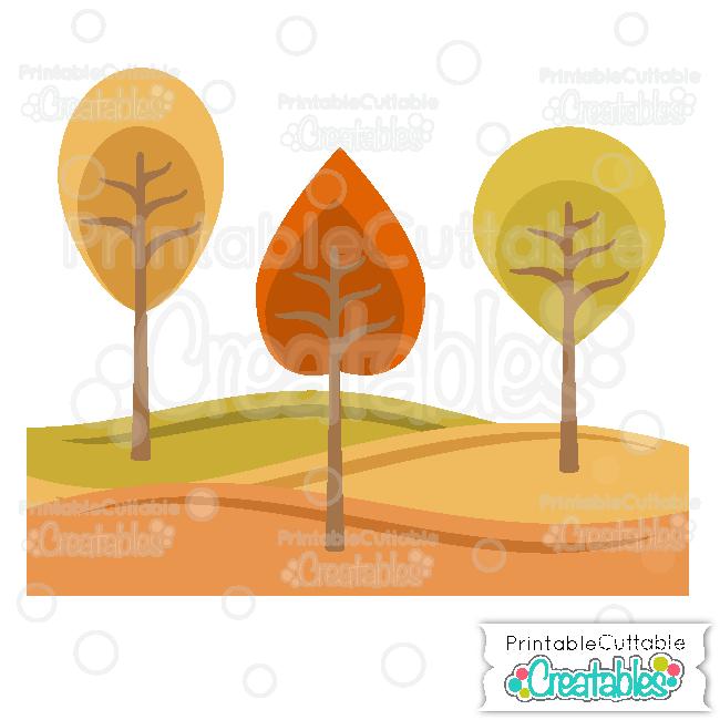 Autumn Tree & Hillside Scene Free SVG Files