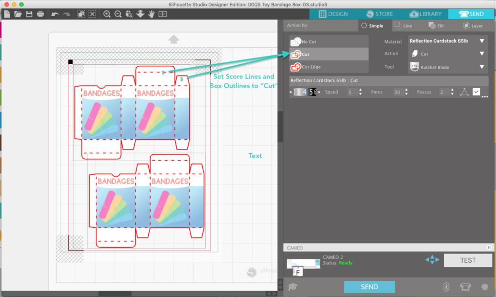 Print and Cut 3D Bandage Box cut score settings