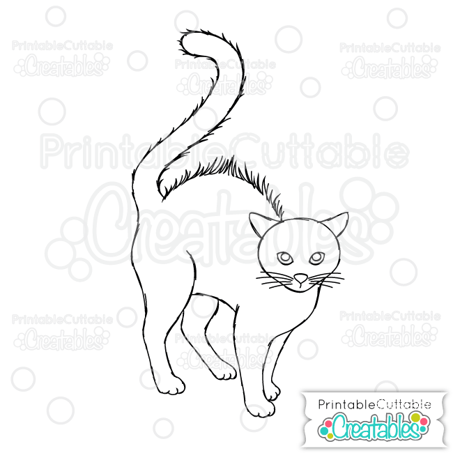 SK 002 Scared Black Cat Sketchable SVG File preview