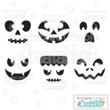 Halloween Faces Pumpkin Carving Stencils Free SVG Files & Printable Clipart