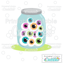 Halloween Jar of Eyeballs SVG File