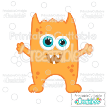 Orange Halloween Horned Monster Free SVG File