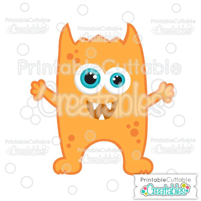 Orange Halloween Horned Monster Free SVG File