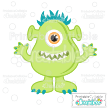 Green Halloween One-Eyed Monster SVG File & Clipart