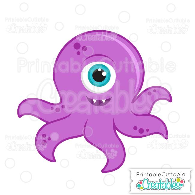 Purple Halloween Tentacle Monster SVG File