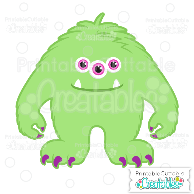 Halloween Hairy 3 Eyed Monster
