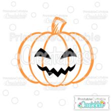Scary Jack O Lantern Halloween Pumpkin Free SVG Cutting File