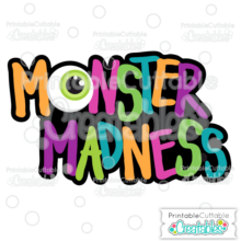 Halloween Monster Madness Scrapbook Title SVG Cutting File