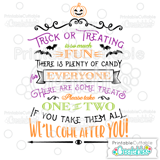 T057 Trick or Treating Vinyl Sign SVG Cutting File preview