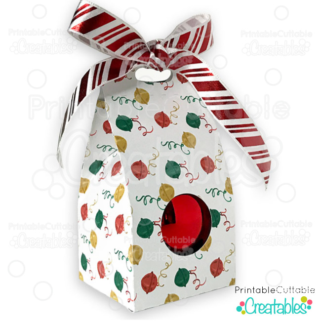 ound Christmas Ornament Gift Box SVG File