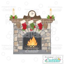 Christmas Fireplace SVG Cutting File