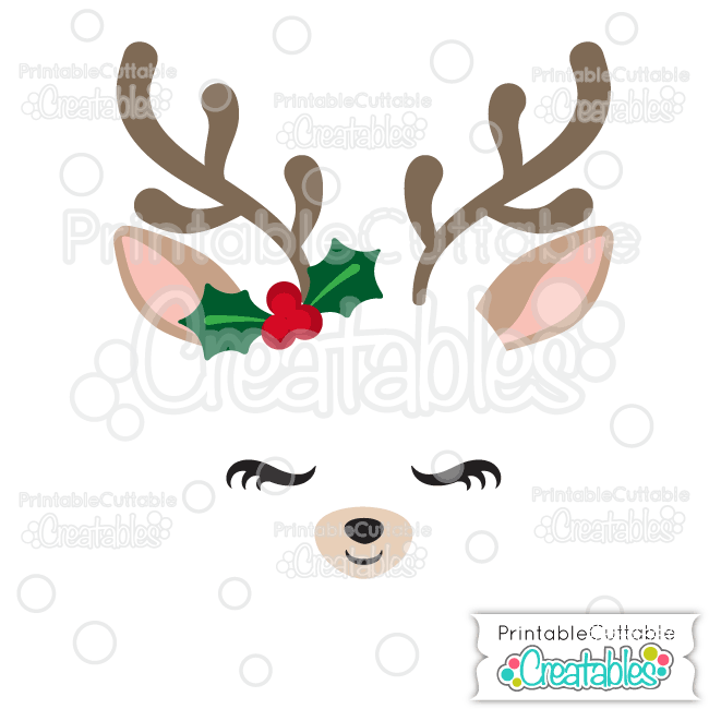 Christmas Reindeer Face SVG Cutting File