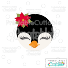 Christmas Penguin Face SVG Cutting File