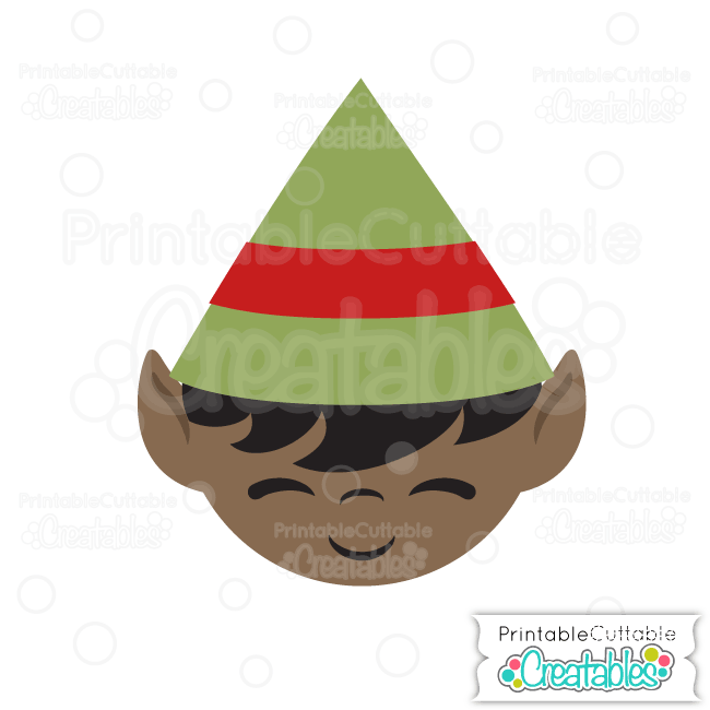 Cute Christmas Elf Face Free SVG Cutting File