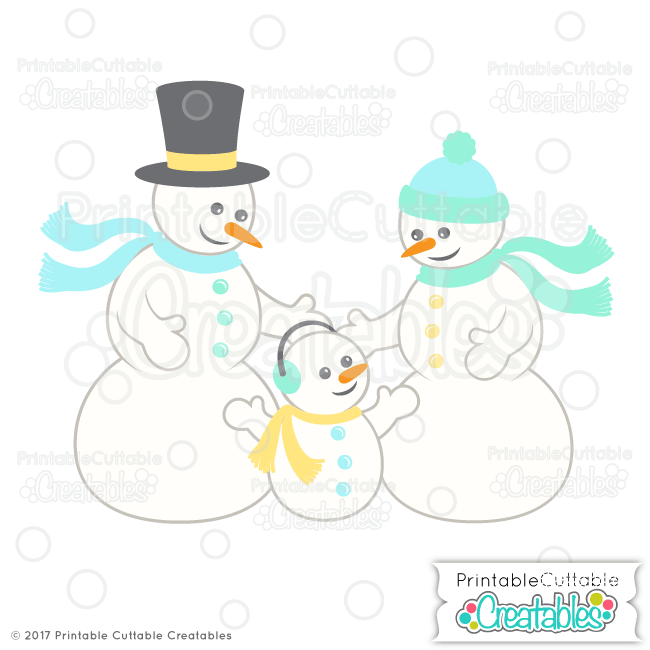 Cute Snowman Family SVG Cut Files