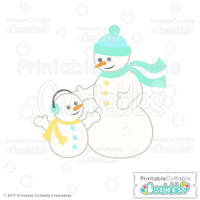E344 Snowman Family SVG Cut File preview2
