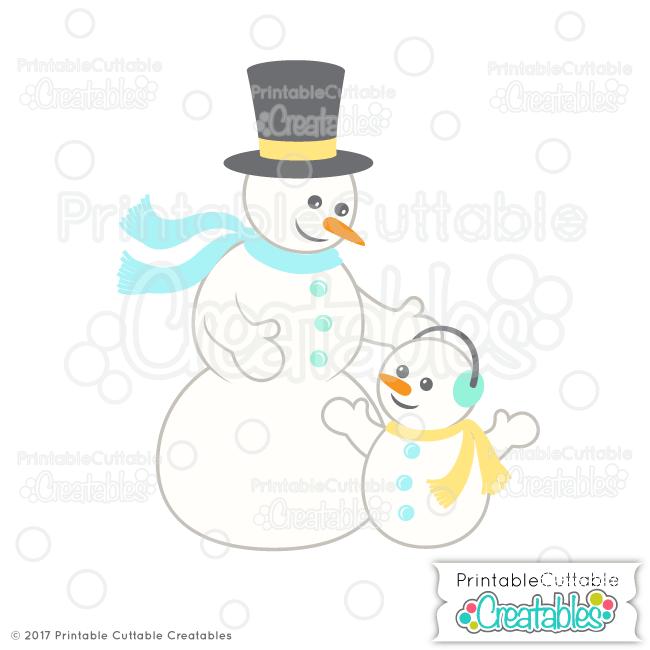 E344 Snowman Family SVG Cut File preview3