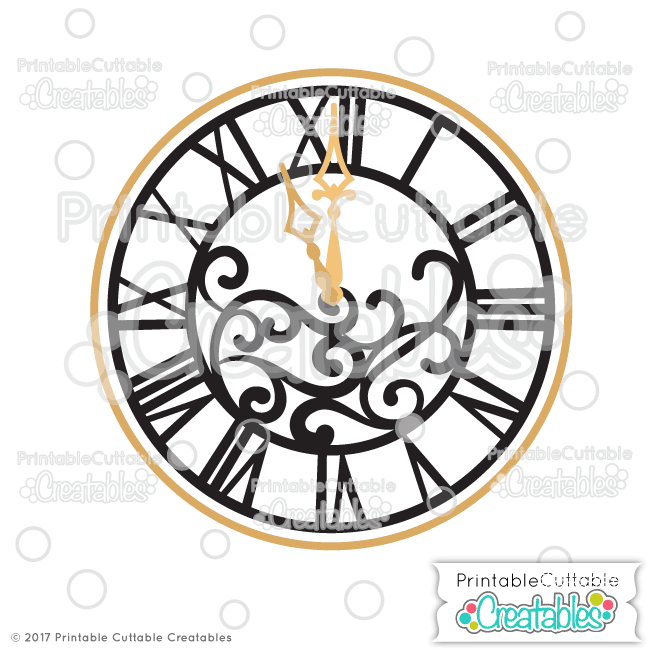 New Year\'s Clock SVG Cut File & Clipart for Silhouette, Cricut