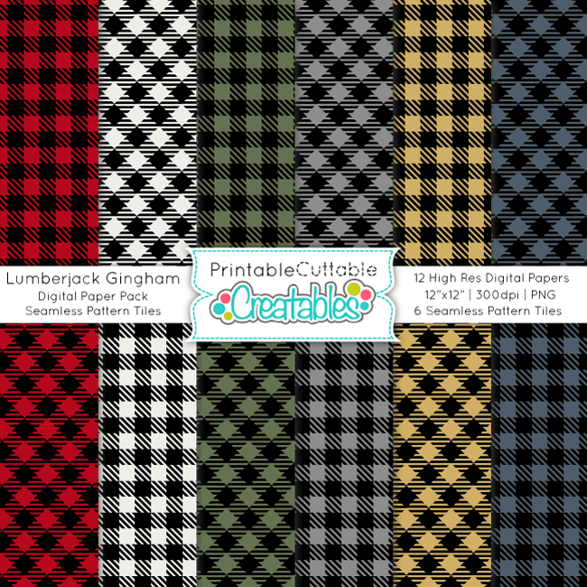 Lumberjack Gingham Plaid Digital Paper Pack & Seamless Patterns