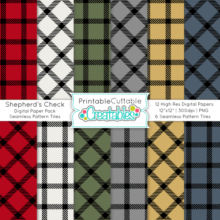 Shepherd's Check Digital Paper Pack & Seamless Patterns