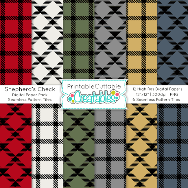 Shepherd's Check Digital Paper Pack & Seamless Patterns