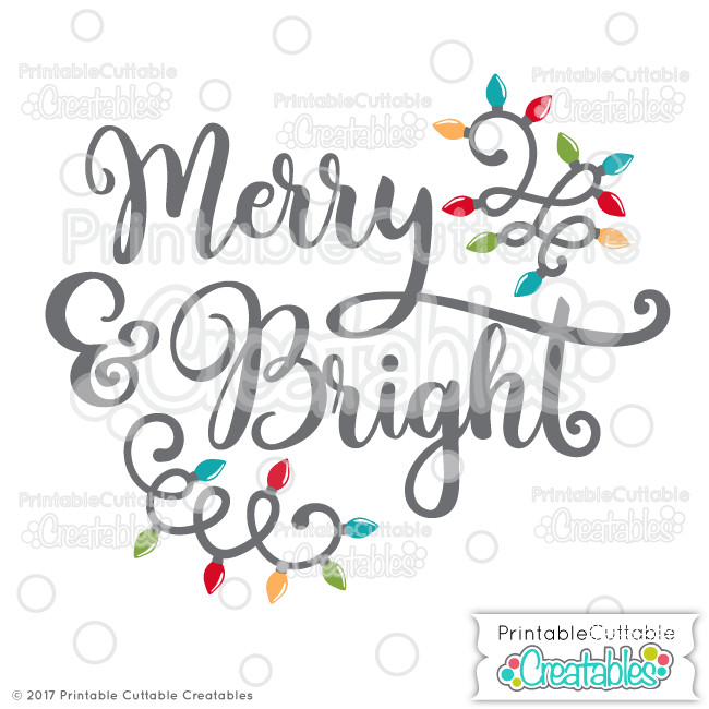 Merry & Bright Free SVG Cut File
