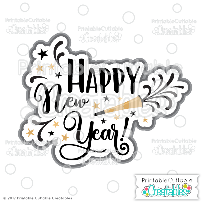 T062 Happy New Year Title SVG Cut File preview