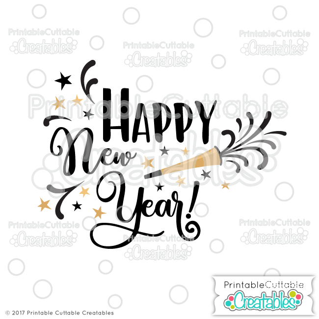 Happy New Year SVG Cut File & Clipart