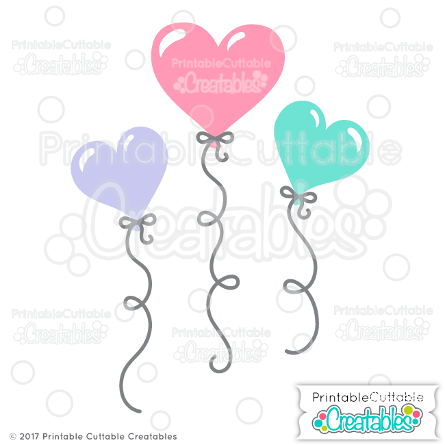 Valentine's Heart Balloons FREE SVG Files