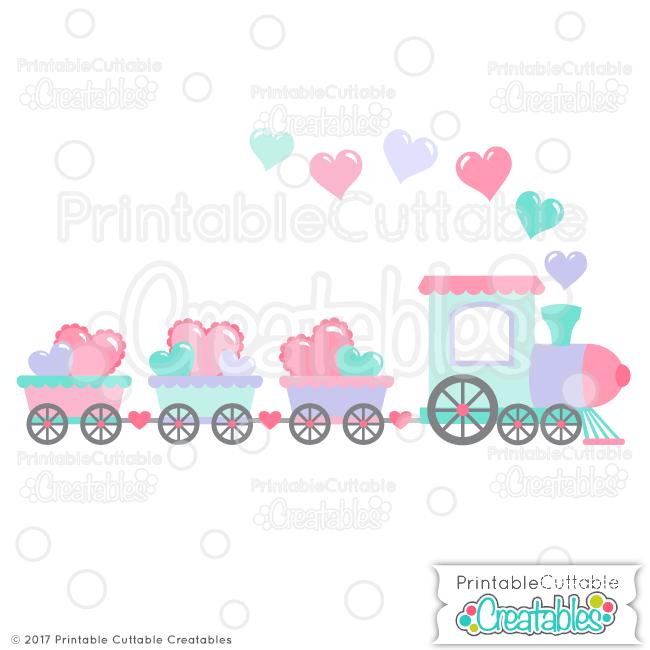 Valentine Hearts Train SVG File