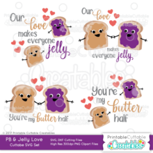 Peanut Butter & Jelly Love SVG File Set