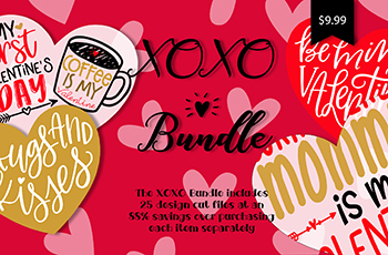 XOXO SVG File Font Bundle Commercial Use