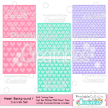 Heart Background / Stencil Set Free SVG Files