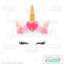 Valentine Hearts Unicorn Face Free SVG Files